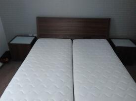 Bed frame + bedside tables + matresses