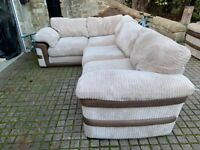 Cream cord corner sofa with brown leather sides