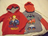 Bob the Builder red hoodie jumper and stripy hoodie jumper with cars - 2 to 3 years