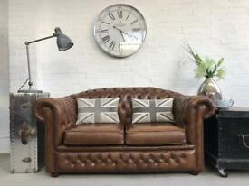 Tan 2 seater chesterfield sofa. Can deliver