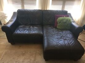 Brown Leather Sofa with Chaise, Armchair and Footstool