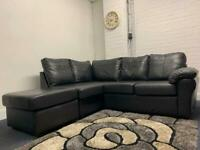 Black leather corner sofa & foot stool delivery 🚚 sofa suite couch furniture