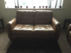 Leather settees matching pair