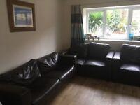 Three free sofas faux brown leather