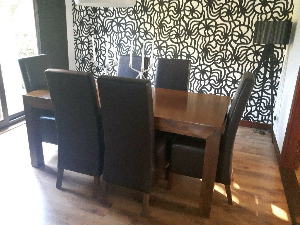 Next Mango Wood Dining Table And 6 Chairs