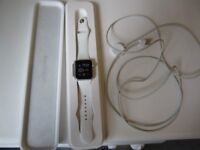 APPLE SPORT WATCH,SAPCE GREY,WHITE STRAP,38MM,8GB,WITH BOX AND CHARGER