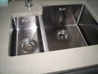 NEW 1.5 Bowl Brushed Steel sink fully boxed includes wastes, overflows, pipework