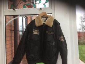 "MENS LEATHER JACKET SIZE 52"" CHEST WITH REMOVABLE COLLAR"