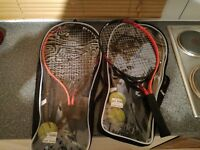 30£ two tennis rackets + cover and balls