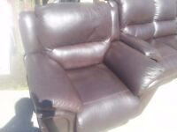 Three plus one seater reclining brown leather sofa with free delivery