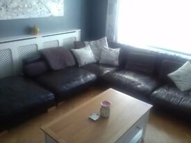 Large Dark Brown Leather Corner Sofa