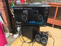 SPARES or REPAIRS - Creative 2.1 wireless Bluetooth speakers - T3250