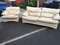 SOFA SET THREE SEATER & SINGLE ARMCHAIR LEATHER IN EXCELLENT CLEAN CONDITION DELVIER MANCHESTER ONLY