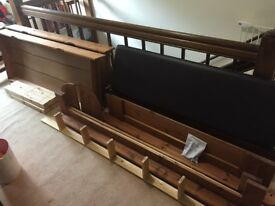 5ft double bed (not Ikea). Great condition. Mattress,padded headboard, underbed storage, table wings