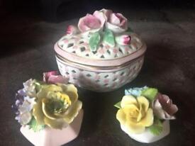 Bone China bowl and two flower ornaments