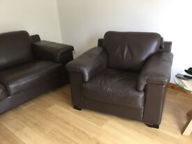 Brown leather sofa and 2 chairs from Adele range from Sterling with matching storage pouffe