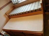 Solid pine single bed with bed underneath