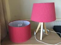 Lamp, lampshade, light shade red matching set tripod with switch