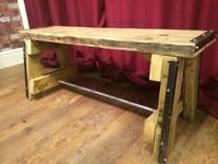 A Frame Bench - Rustic - Solid Chunky Wood - Inside or Outside - Can Deliver