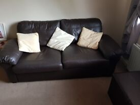 2 X Brown Leather Sofa - Great Condition