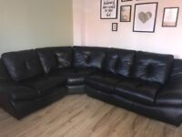 Black leather corner sofa and chair (sofolgy)
