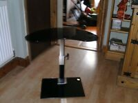 Laptop Table, Black Glass and Chrome Stand