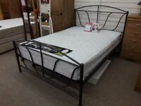 Black Metal Double Bed Frame and Silent Night Mattress