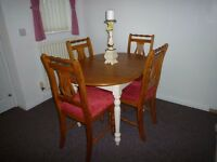 solid pine oval extending table and 4 solid pine chairs with chenille seats