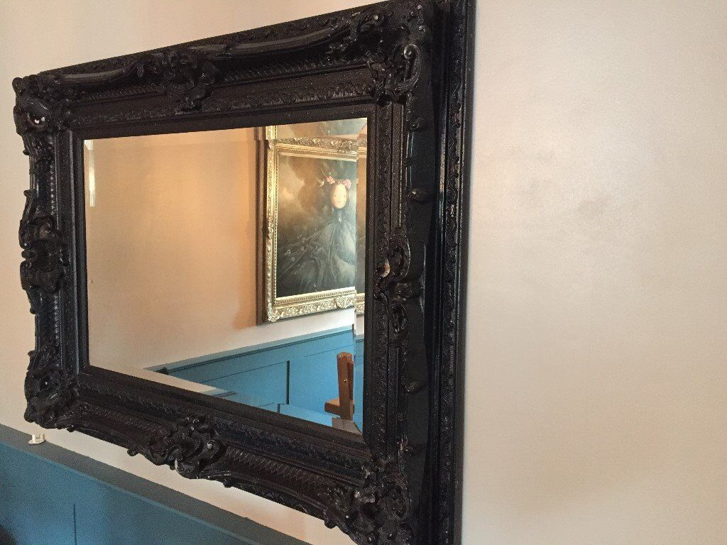 21e6dea1344ec Large Black Ornate Mirror