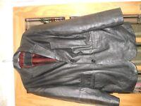 Mens Black leather Jacket size Medium