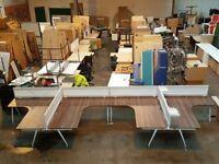 Desks! 4 People Dark Wooden Vaneer Modern Design Workstation Office Layout 20 Available