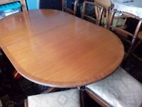 Dining table, extending from 64-84 inch & 6 chairs(2 need repair)