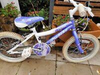 girls lilac and white 16 inch wheel bike