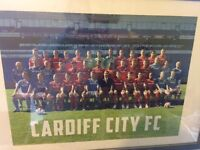 Signed Cardiff City squad poster with frame of the promotion winning team to the premier league