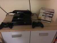 Xbox 360 console 2 controller kineckt and games