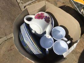Camping crockery and tea pot