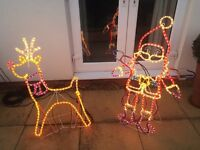 Moving outdoor Santa & Reindeer Christmas silhouettes - Large