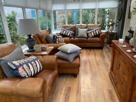 Tan Distressed Leather 4 Piece Suite