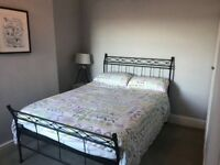 Wrought iron frame double bed and mattress