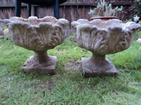PAIR OF OLD ACANTHUS LEAF DESIGN GARDEN PLANTERS / URNS / POTS FOR DECORATION