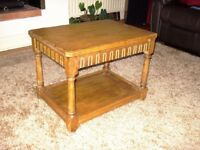 Solid Oak coffee table with shelf