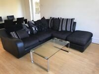 Stylish, contemporary John Lewis L shaped sofa with cushions