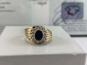 #3899 10K Yellow & White Gold Natural Sapphire Surrounded By Diamonds *SIZE 6 3/8* APPRAISED AT $1750.00!