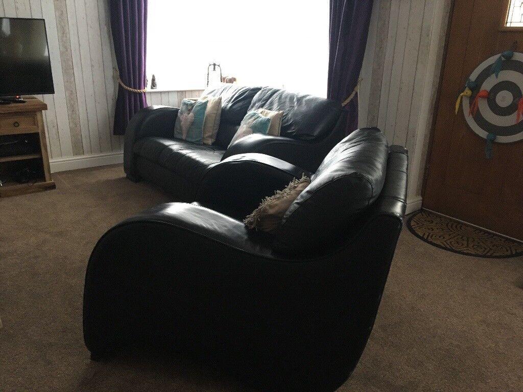 Black Italian Leather Cinema Style Sofa With Chair In Kingsbridge Devon Gumtree