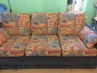(2) identical 3 seater sofa couch and footstool