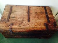 vintage wooden chest/trunk for storage or as table
