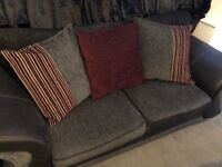 Grey and Black 3 seater sofa with 3 x throw cushions.