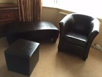 Matching Leather ArmChair(tub chair), Ottoman and Footstool like new from non smoking house