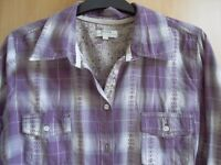womans purple checked shirt with turn up sleeves size 14