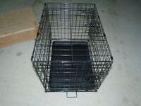Metal pet crate medium, 2 doors but one in wrong place, removable tray.